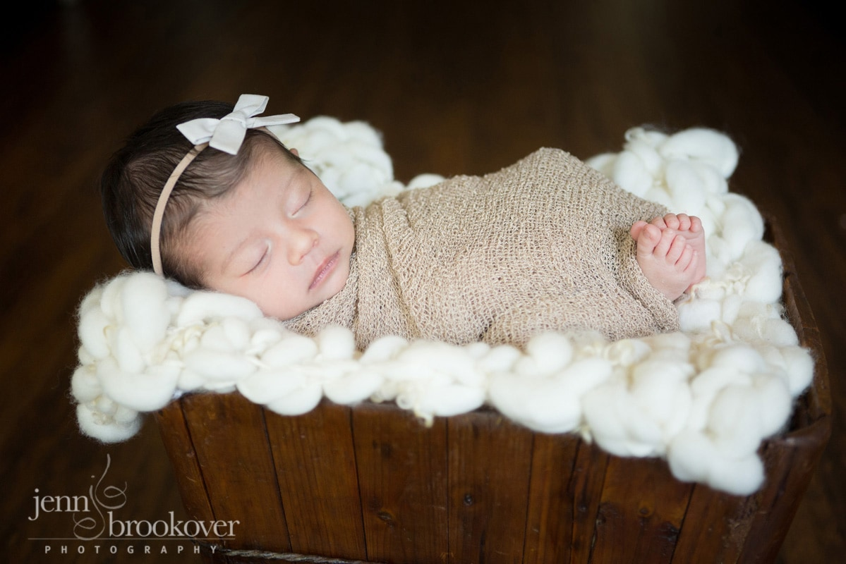 newborn in natural light taken at home during portrait session