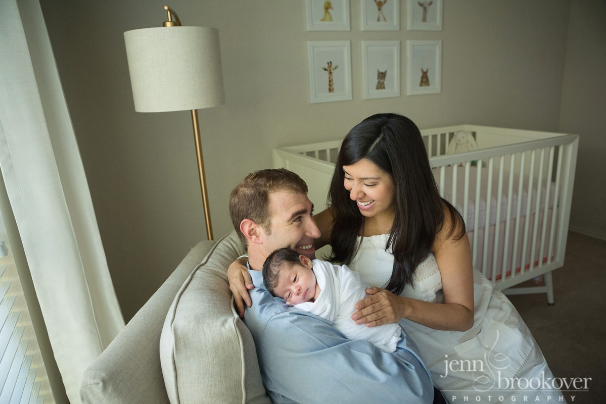 newborn family portrait taken at home during their lifestyle session