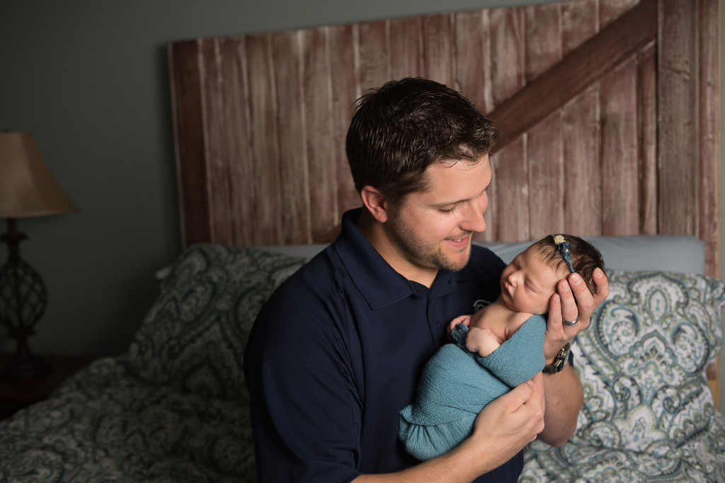 newborn with dad at home in San Antonio, Texas