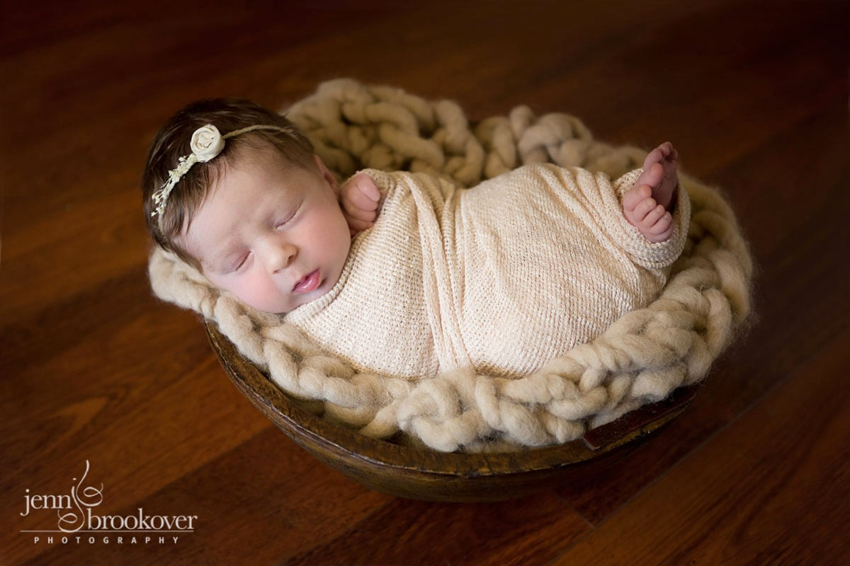 newborn photography at home in San Antonio, Texas, newborn in bowl