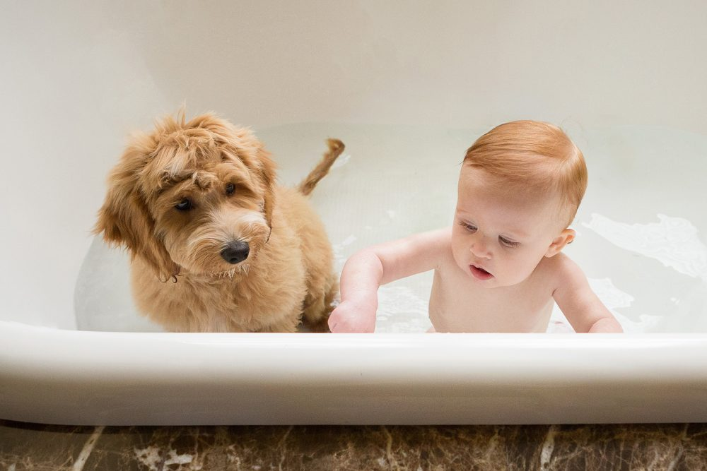 baby and dog in bathtub