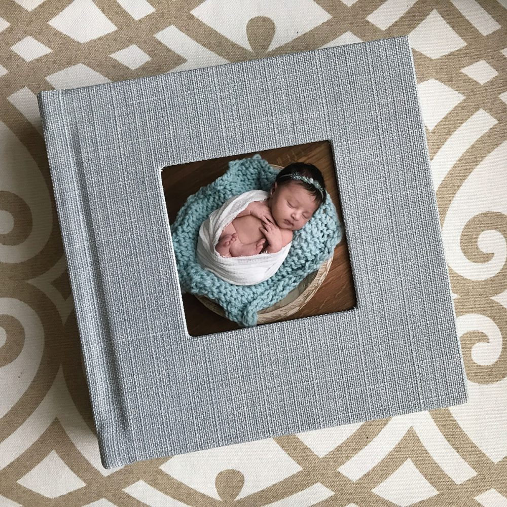 sage newborn album with cut out cover