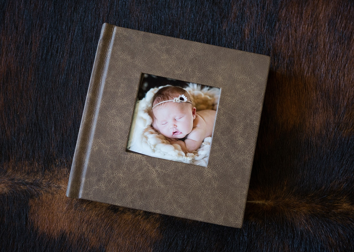 custom leather newborn album