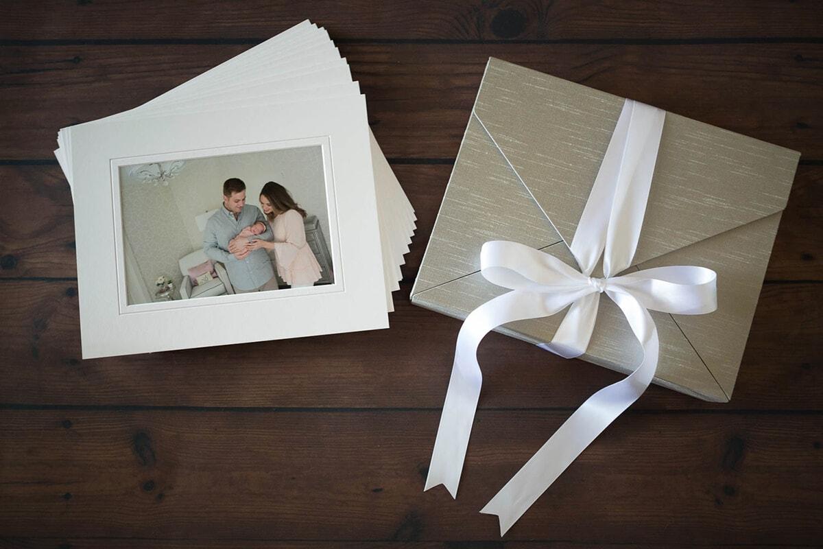 memory portrait box in taupe silk, ribbon closure
