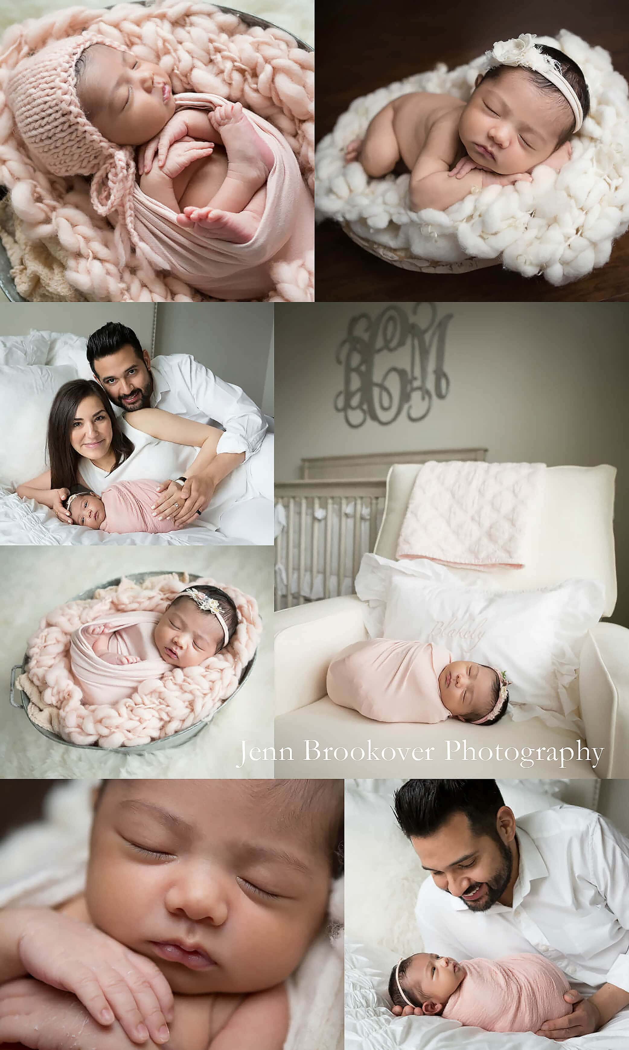 newborn baby girl session at home in San Antonio, Texas using cream, blush and gray