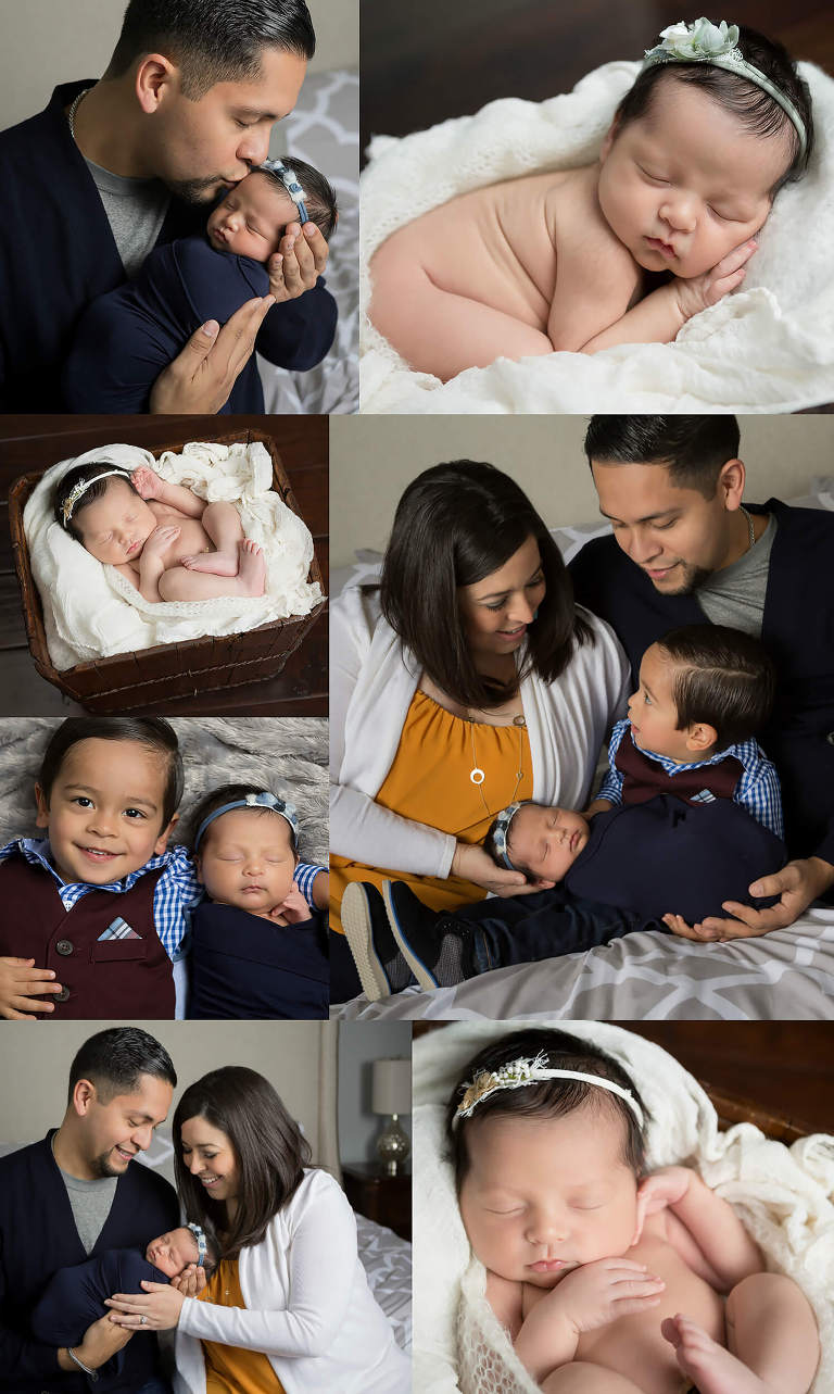 newborn baby girl session at home in San Antonio, Texas navy, gold, cream