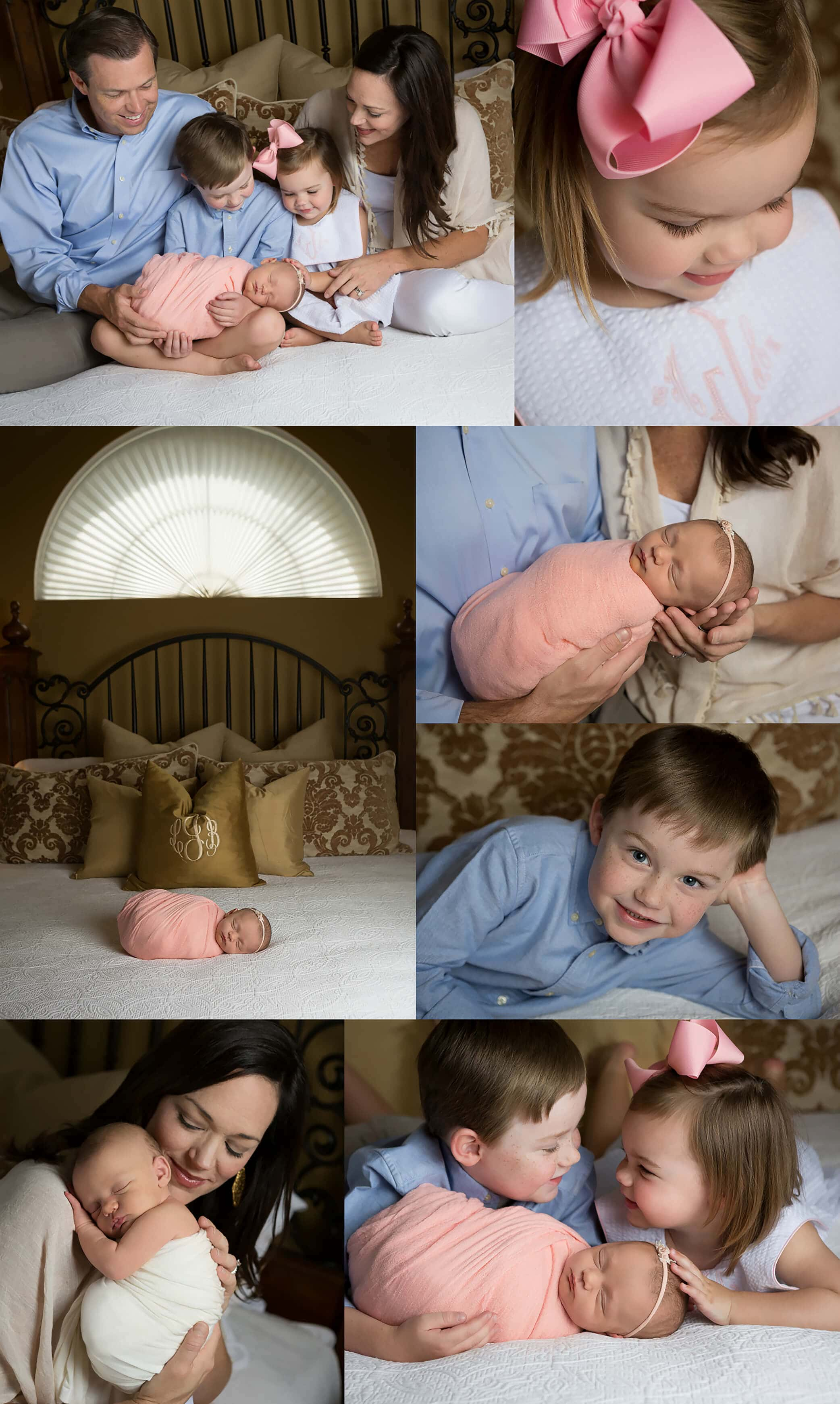 newborn baby girl session at home in San Antonio, Texas - peach, pink, blue, gold