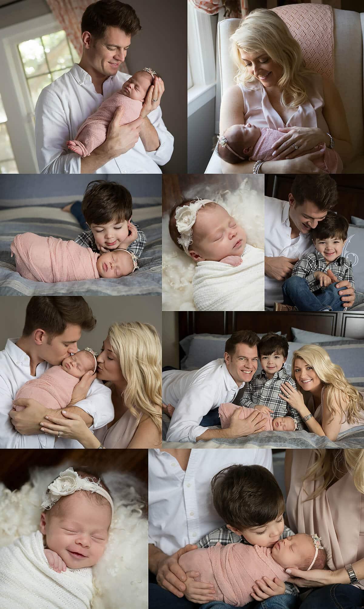 newborn baby girl session at home in San Antonio, Texas blush, cream, white