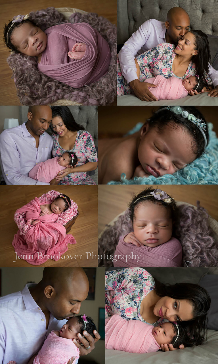 newborn baby girl session at home in San Antonio, Texas purple, teal, pink, gray