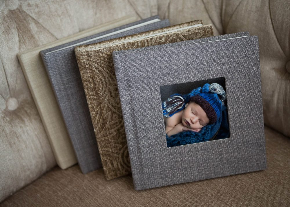 photo album from portrait session San Antonio Newborn Photogrpapher
