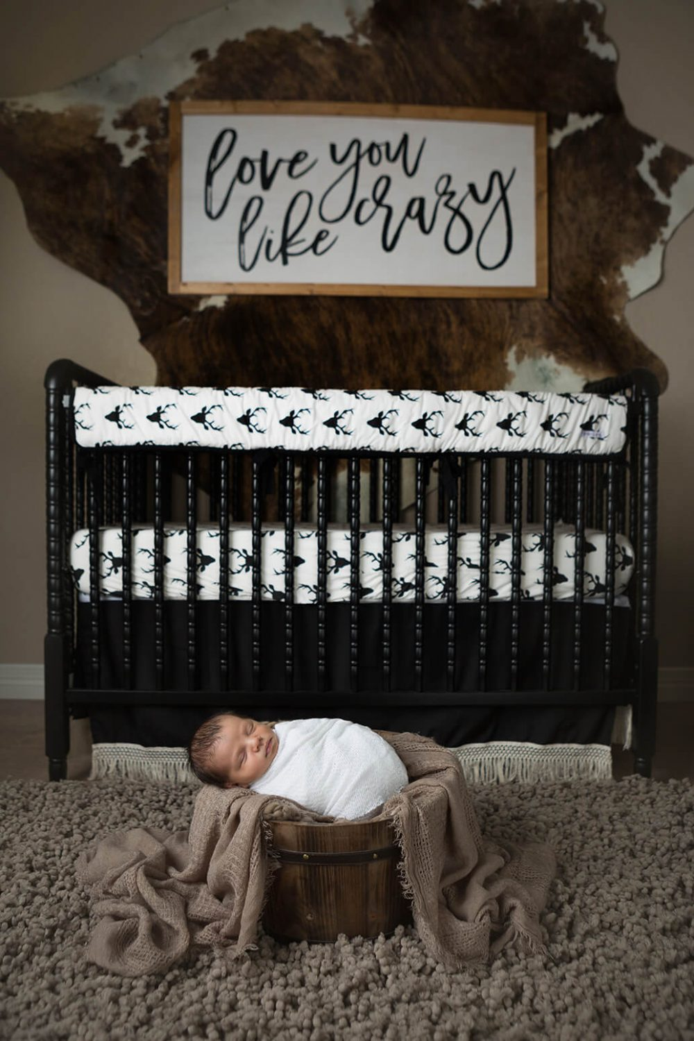 love you forever nursery newborn session fur and brown bedding by Nursery Couture and Caden Lane