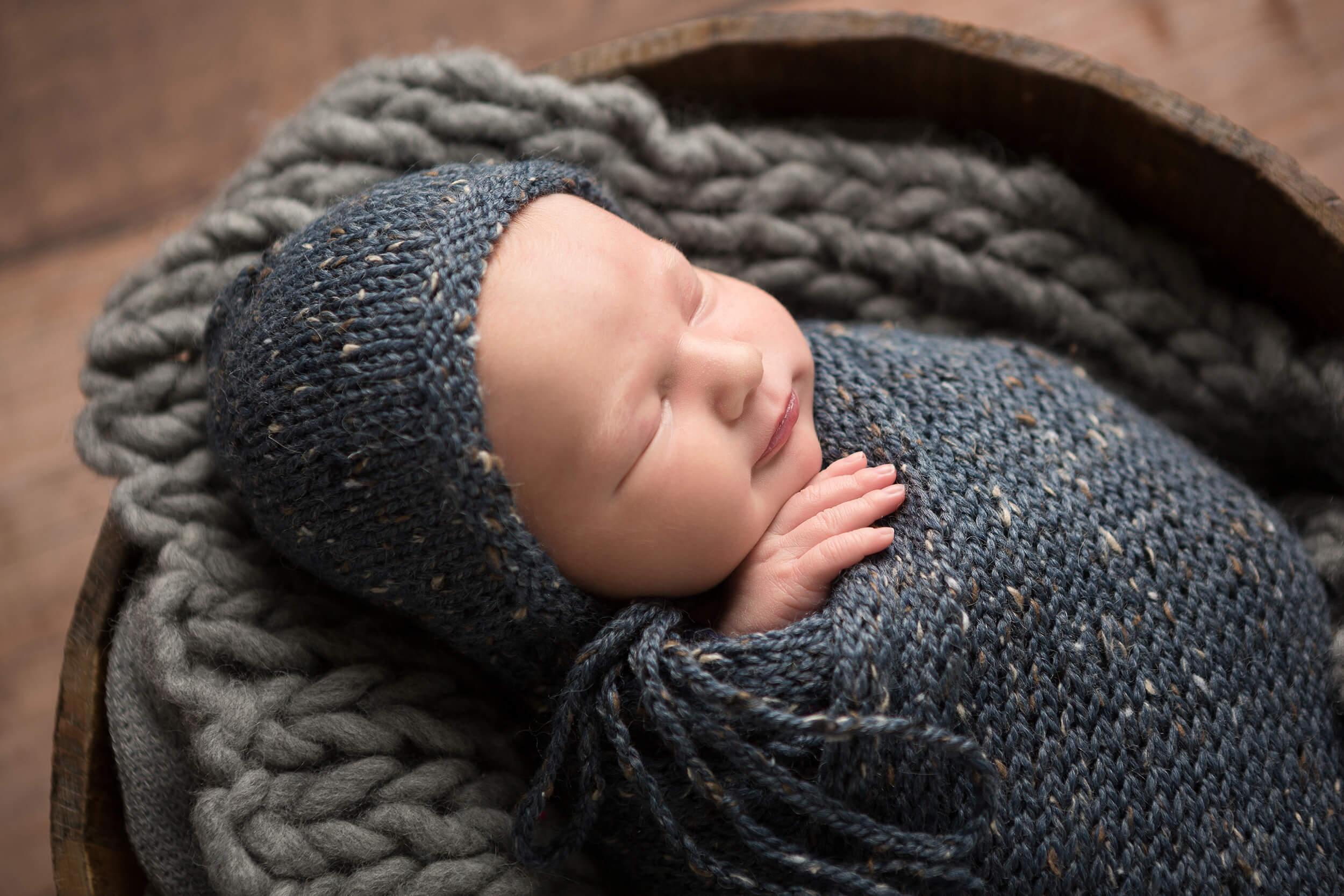 newborn wrapped gray blue san antonio
