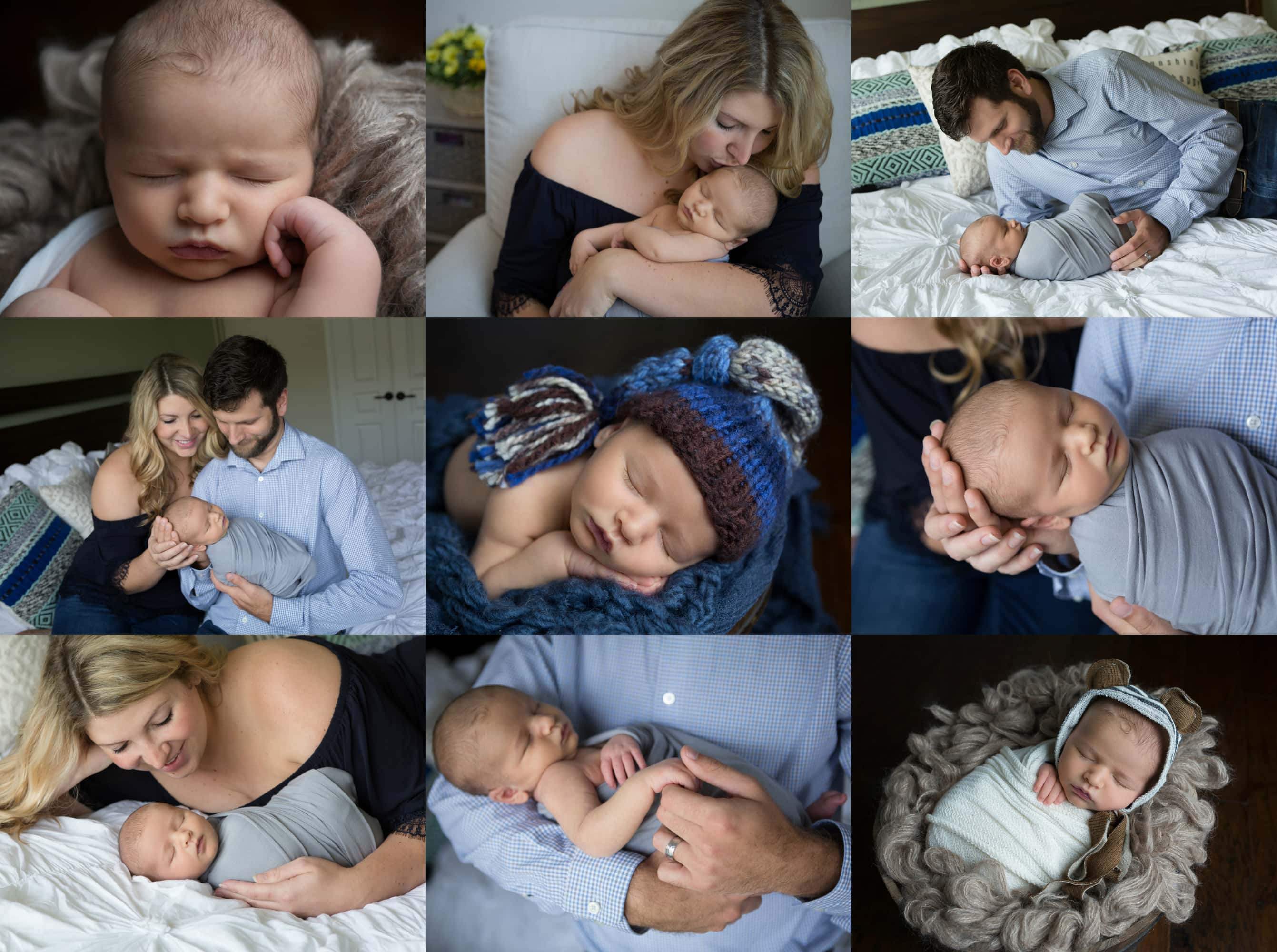 San Antonio newborn photographer portraits at home, boy in navy with parents