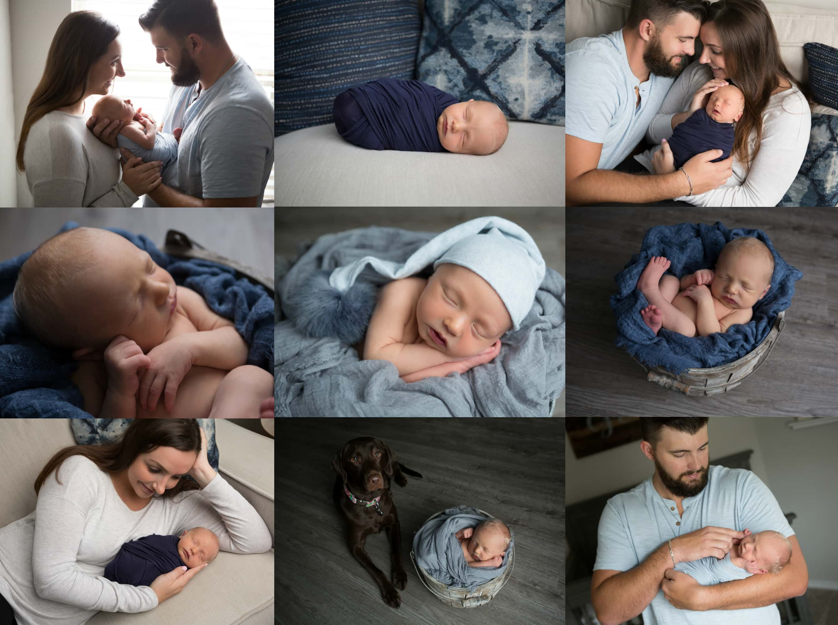 newborn boy in blue and gray family portraits New Braunfels