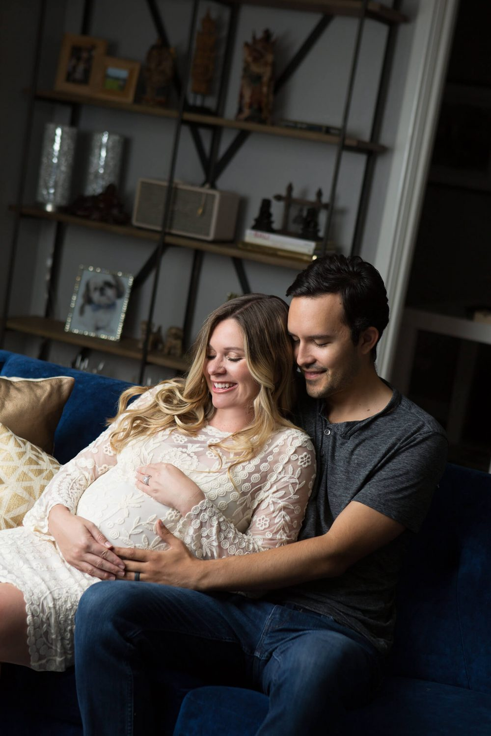 maternity session at home in lace dress Alamo Heights, Texas