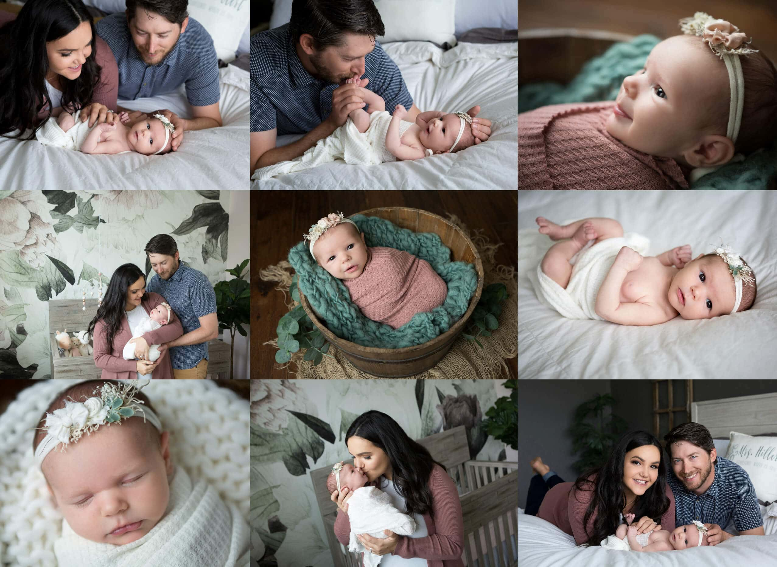 newborn baby girl at home photo session with parents